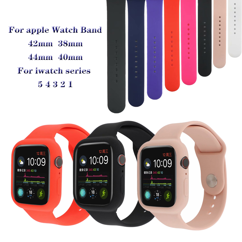 Silicone Bracelet Strap shock Proof Case for apple strap 4 5 44mm 40mm sports band protector for iwatch series 3 2 1 42 mm 38mm image