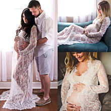 Summer Pregnant Lace Dress Women Front Split Long Maxi Maternity Black&White Lace Dress Gown Photography Prop See Through Dress maxi cami dress with fringing black