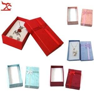 Image 1 - 24 adet Mix renk hediye kutusu takı küpe organizatör saklama kutusu kolye kağıt ambalaj kutusu takı yüzük saklama kutusu 8*5*2.5CM