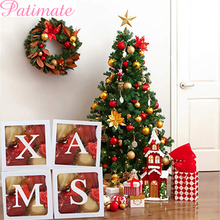 Christmas Transparent Box Merry Decorations For Home DIY Letter Ornaments 2020 New Year Gifts Xmas Navidad