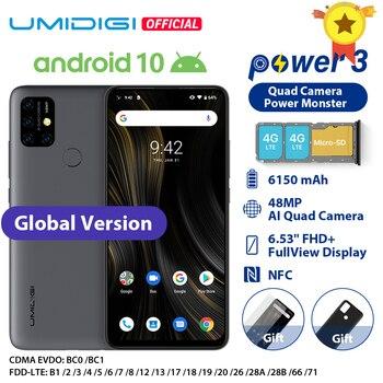 UMIDIGI כוח 3 אנדרואיד 10 48MP Quad AI מצלמה 6150mAh 6.53 FHD  4GB 64GB Helio p60 הגלובלי גרסת Smartphone NFC במלאי