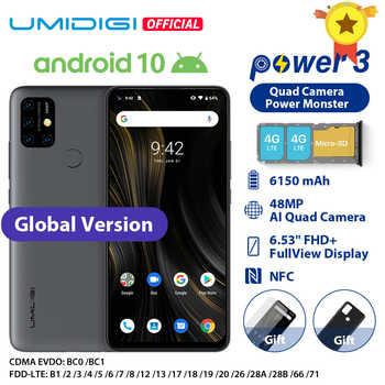 "UMIDIGI güç 3 Android 10 48MP dört AI kamera 6150mAh 6.53 ""FHD + 4GB 64GB Helio p60 küresel sürüm Smartphone NFC stok"