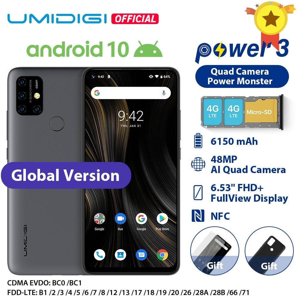 Umidigi-teléfono inteligente Power 3, teléfono móvil versión Global con Android 10 so, cámara de 48.0mp, Ia 6150mAh, pantalla FHD 6,53 pulgadas, 4GB RAM, 64GB rom, Helio P60 CPU, soporta NFC