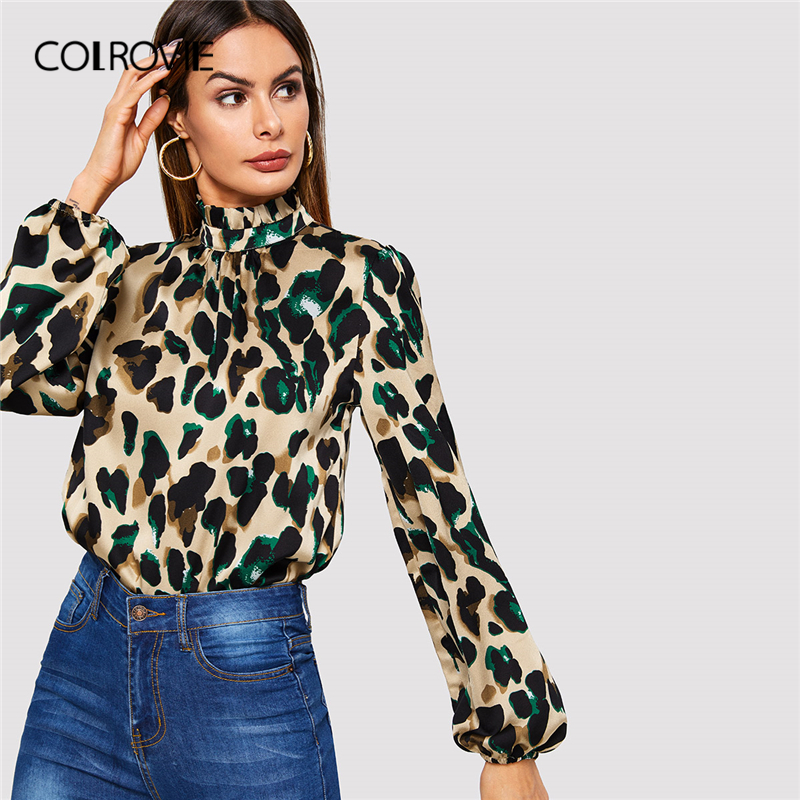 COLROVIE Bishop Sleeve Frill Neck Leopard Blouse Women 2019 Autumn Stand Collar Long Sleeve Tops Casual Elegant Ladies Blouse