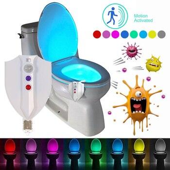 LED Asiento de baño luz de noche Sensor de movimiento WC luz 8 colores lámpara de baño noche esterilización UV para inodoro Niño d40