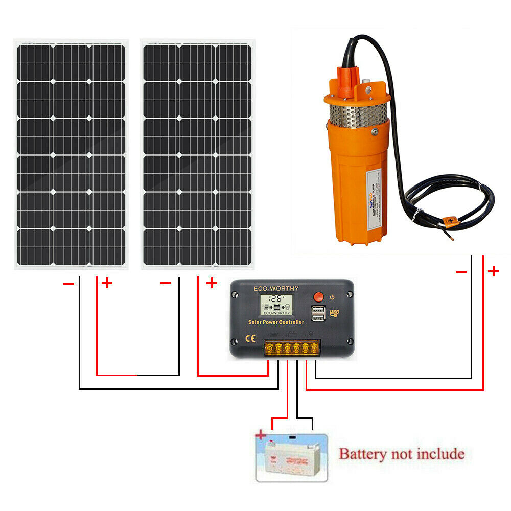 2pc 100W Poly Solar Panel Controller Irrigation ECO-WORTHY 24V Deep Well Stainless Steel Water Pump