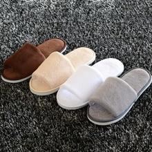 Women Men Soft Coral Velvet Slippers Hotel Salon Club Home Non-Slip Indoor Disposable Guest Wear Washable