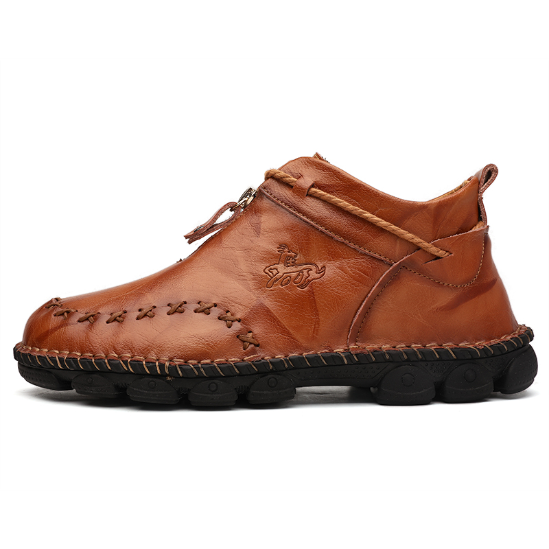 ZUNYU Autumn New Leather Men Boots Winter High Tops Man Casual Ankle Boot Comfortable Men's Snow Shoes Work Plus Size 38-48 4