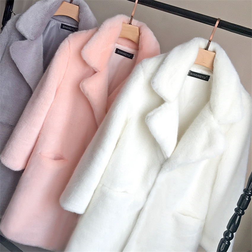 Coat Jacket Collar Mink Faux-Fur Bella Philosophy Turn-Down Female Warm Casual Winter title=