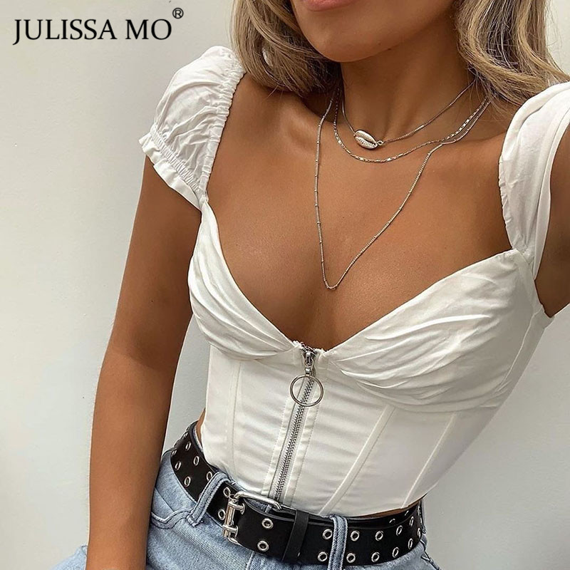 JULISSA MO Sexy V Neck Corset Crop   Top   Women Fashion Ruffles Zipper Summer   Tank     Top   2019 Beachwear Casual Backless Women   Tops