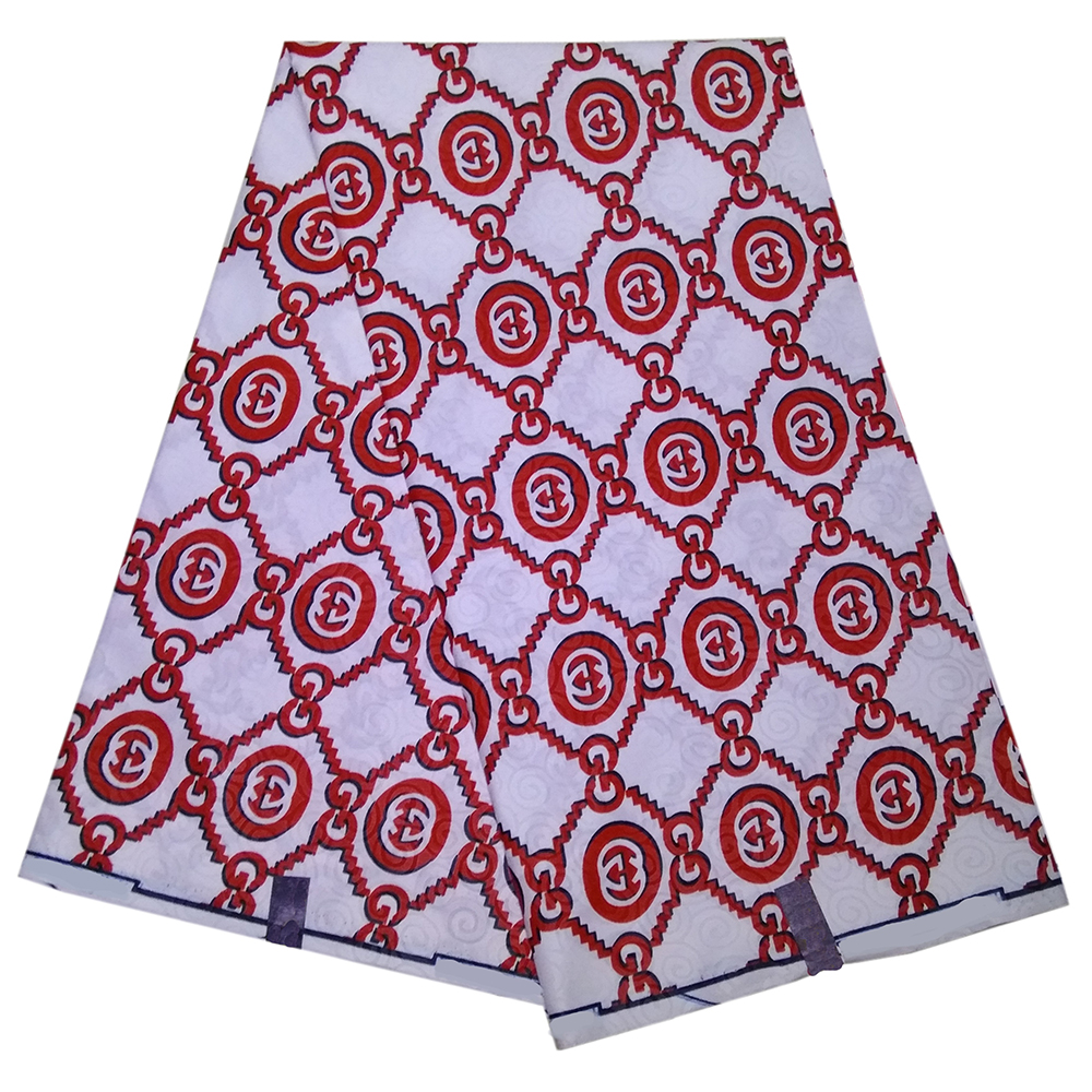 African Print Fabric Fashion Red Print Wax White Fabric 6Yards\lot