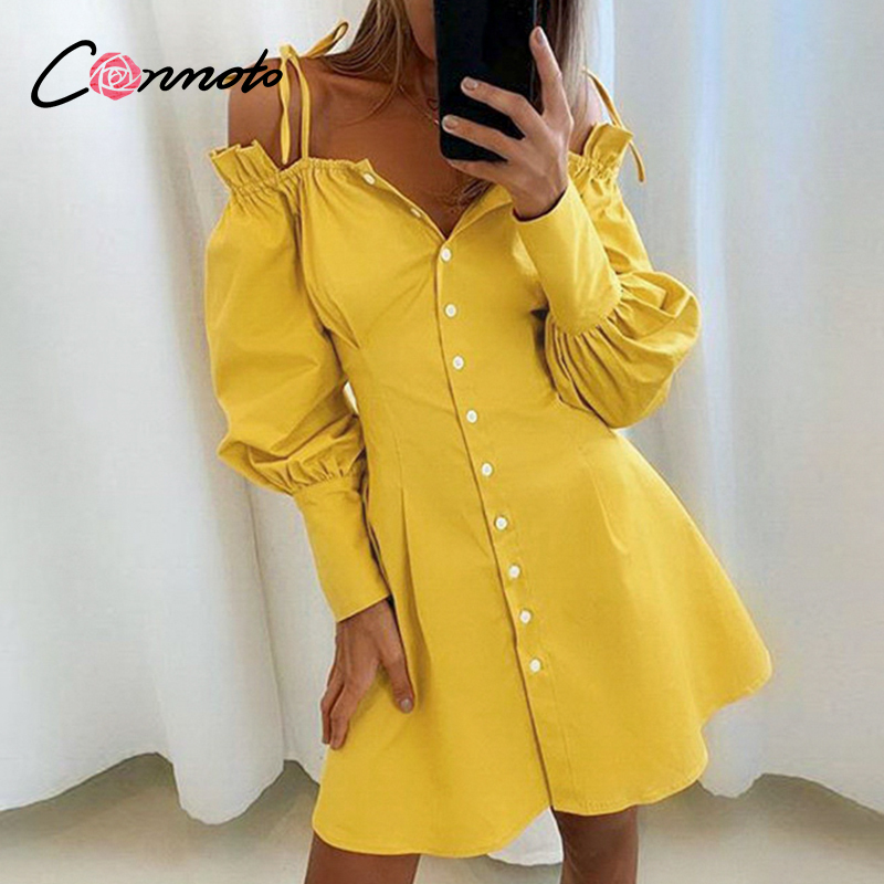 Conmoto Solid Sexy Ruffles Summer 2020 Dresses Women Casual Yellow Spaghetti Strap Dress Plus Size Pleated Short Dress Vestidos