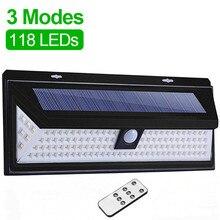Three sides 118 LED remote control three function solar light outdoor wall lamp IP65 waterproof PIR motion sensor street light