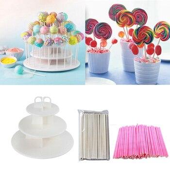 1set Lolipop Cake Stand display stand set white lolipop stick table dessert decor for baby shower wedding birthday