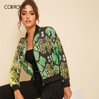 COLROVIE Snakeskin Print Zip Front Bomber Jacket Women 2019 Autumn Streetwear Ladies Jackets Stand Collar Casual Outerwear