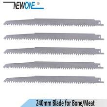 NEWONE 240 مللي متر أسنان كبيرة الفولاذ المقاوم للصدأ ترددية المنشار بليد صابر المنشار ل اللحوم المجمدة العظام قطع اكسسوارات سوزال
