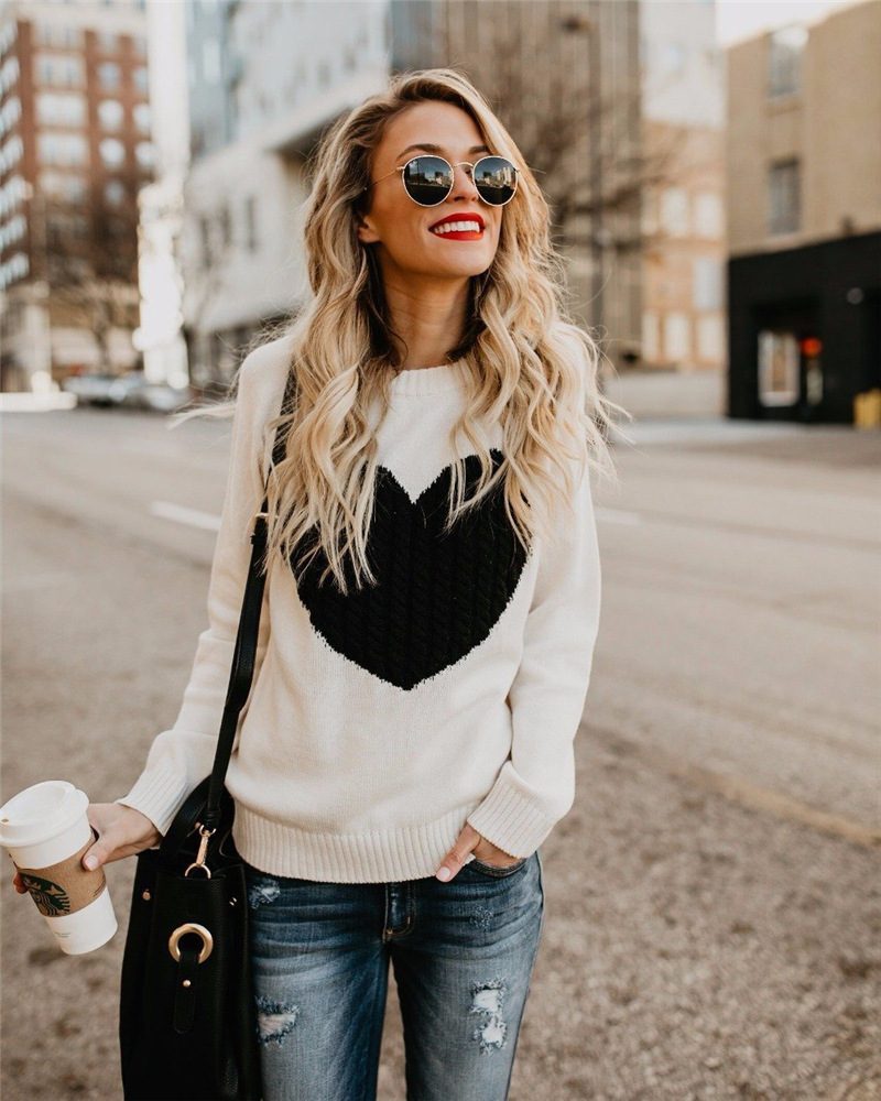 Winter Women Sweaters Pullovers Long Sleeve Sweater Slim Heart Knitted Jumpers Sueter Mujer
