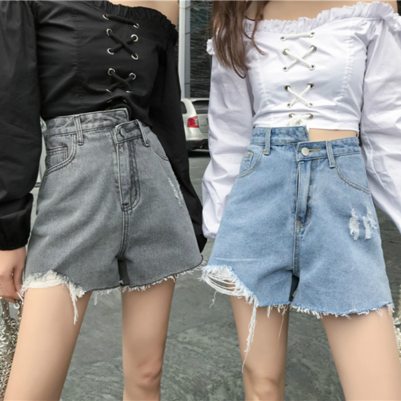 Womens Fashion Shorts Summer High Waisted Ripped Hole Denim Shorts Jeans Women Short New Korean Streetwear Casual Shorts