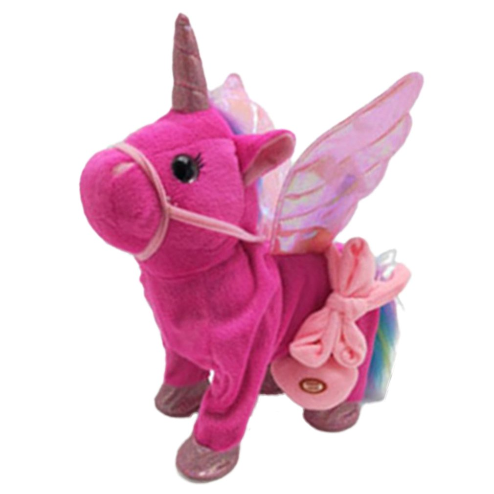 Cute Unicorn Doll Leash Flying Horse Can Walk Can Sing Plush Dolls For Electric Unicorn Plush Toy Child Birthday Gift