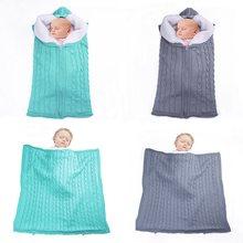 Sac de couchage tricoté pour bébé, enveloppe en tricot épais, sac de couchage d'hiver pour enfants, repose-pieds pour poussette, sac de couchage tricoté pour nouveau-né