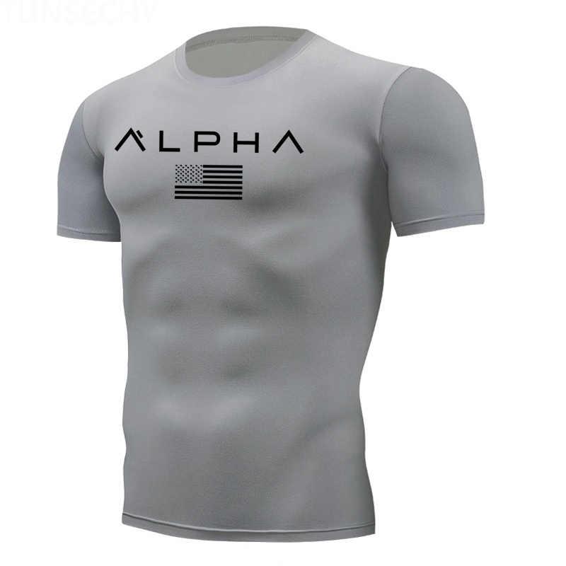 ジムシャツ男性速乾性タイト Tシャツフィットネス Tシャツ男性ブランド半袖スポーツ圧縮シャツメンズスポーツウェア
