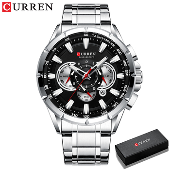 CURREN New Causal Sport Chronograph Men's Watches Stainless Steel Band Wristwatch Big Dial Quartz Clock with Luminous Pointers 8