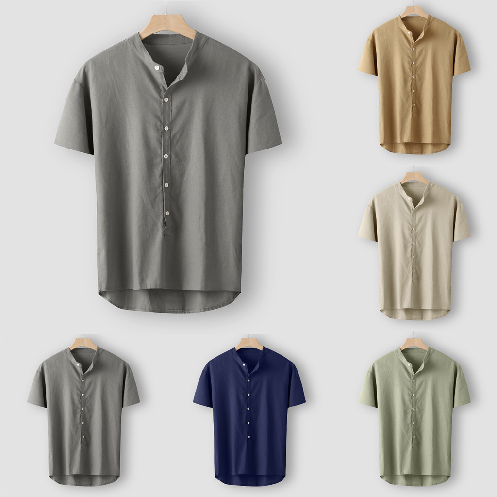 Fashion Men's Summer Button Casual Linen And Cotton Short Sleeve Top Blouse Dropshipping Low Price Discount Woman Man Style