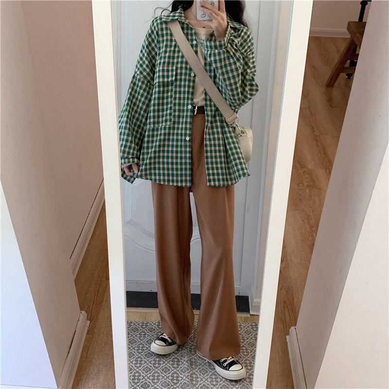 Deeptown Lattice Women Blouses Fashion Autumn Plaid Women Shirts Korean Style Long Sleeve Shirt Loose Leisure Female Clothes