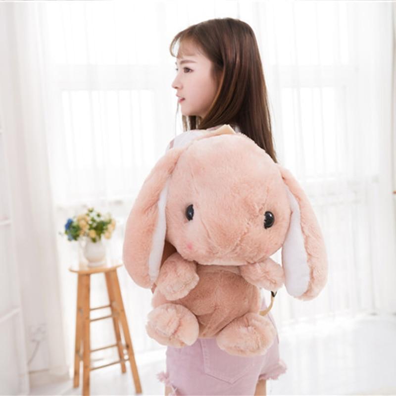 Плюшевый Рюкзак восхитительный Мягкий Кролик Рюкзак длинные уши кроликов рюкзак в форме животных Дети Девушки хозяйственная сумка Школьны