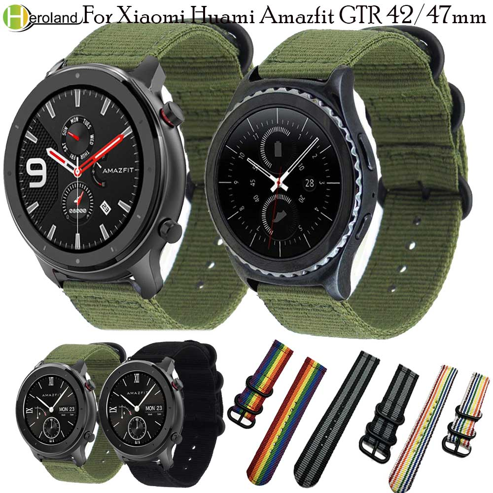 22 20mm nylon Watch Strap For Huami <font><b>Amazfit</b></font> GTR 47mm/42mm/Stratos <font><b>2</b></font> 2S/ Bip <font><b>BIT</b></font> Youth lite/GTS wristband for samsung gear s3/s2 image