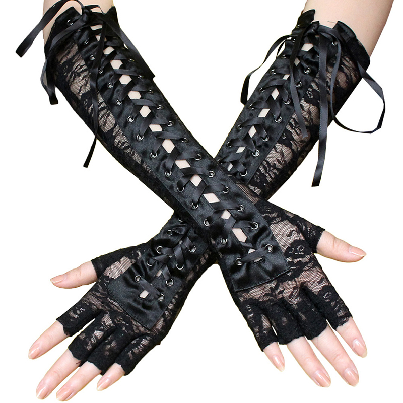 Satin Opera Evening Party Prom Costume Gloves Long Black Lace Tie Gloves Sexy Half Finger Nightclub Gloves