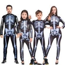 Umorden halloween carnaval festa traje família assustador demônio diabo crânio esqueleto trajes macacão para homens feminino crianças menino menina