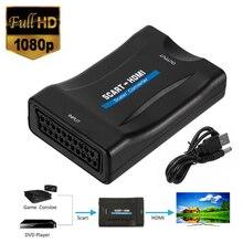 1080p scart para hdmi conversor de áudio de vídeo compatível adaptador de sinal receptor hd tv plug and play com cabo usb