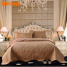 2018 Light Brown Quilting 3Pcs Bedspread Set Washed Cotton/Crystal Velvet Fabric Blankets 230x250cm Stitching Bed Covers(China)