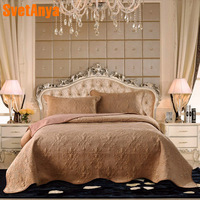 2018 Light Brown Quilting 3Pcs Bedspread Set Washed Cotton/Crystal Velvet Fabric Blankets 230x250cm Stitching Bed Covers