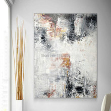 Hand painted Large Wall Art black white oil painting gris gray Original Canvas picture Modern Decor Contemporary Artwork