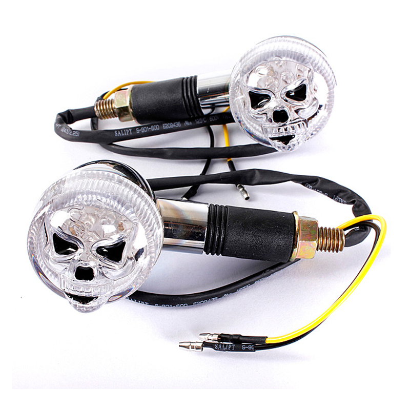 2PCS Chrome 3D Skull Skeleton Motorcycle Turn Signal Indicators For Honda Gold Wing Goldwing GL 500 650 1000 1100