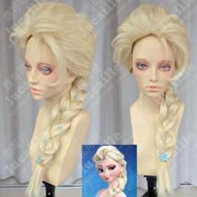 Парик Фильмы Замороженные Снежная королева Эльза волосы волнистые Блондин оплетка Косплей парики