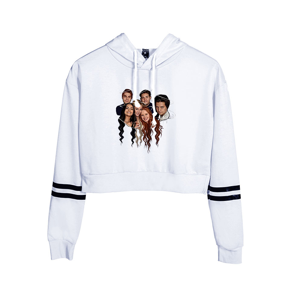 New White Comfortable Riverdale Crop Top Hoodies Women Summer Fashion Autumn Hip Hop Casual Women Girls Hoody Sweatshirt