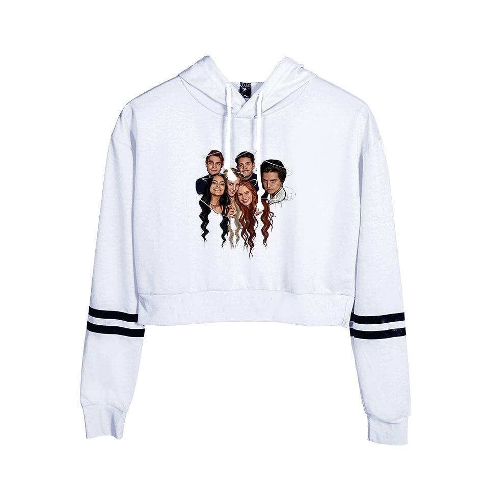 New White Comfortable Riverdale Crop Top Hoodies Women Summer Fashion Autumn Hip Hop Casual Women Girls Hoody Sweatshirt