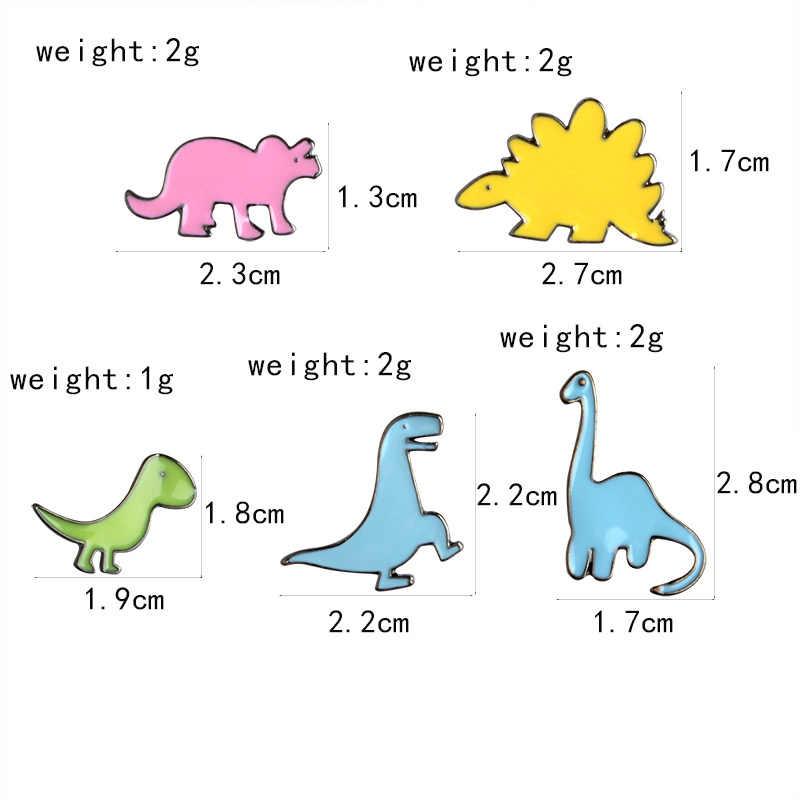 الكرتون ديناصور المينا دبوس ستيجوسورس أثلون طويل العنق التنين دبابيس التلبيب شارة بدبوس الملابس على ظهره مجوهرات هدية للطفل