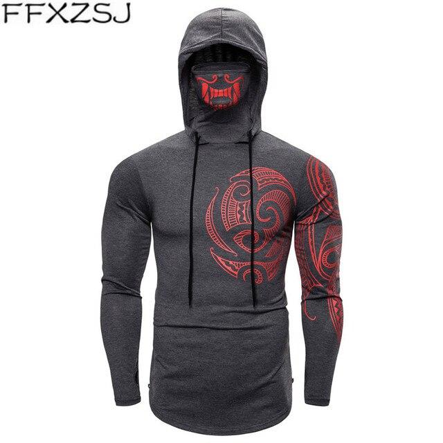 Men Trend With Mask Hood Sweatshirt Elastic Fitness Tattoo Print Hooded Sweat Homme Mens Hip Hop Sudadera Ninja Suit Streetwear 1