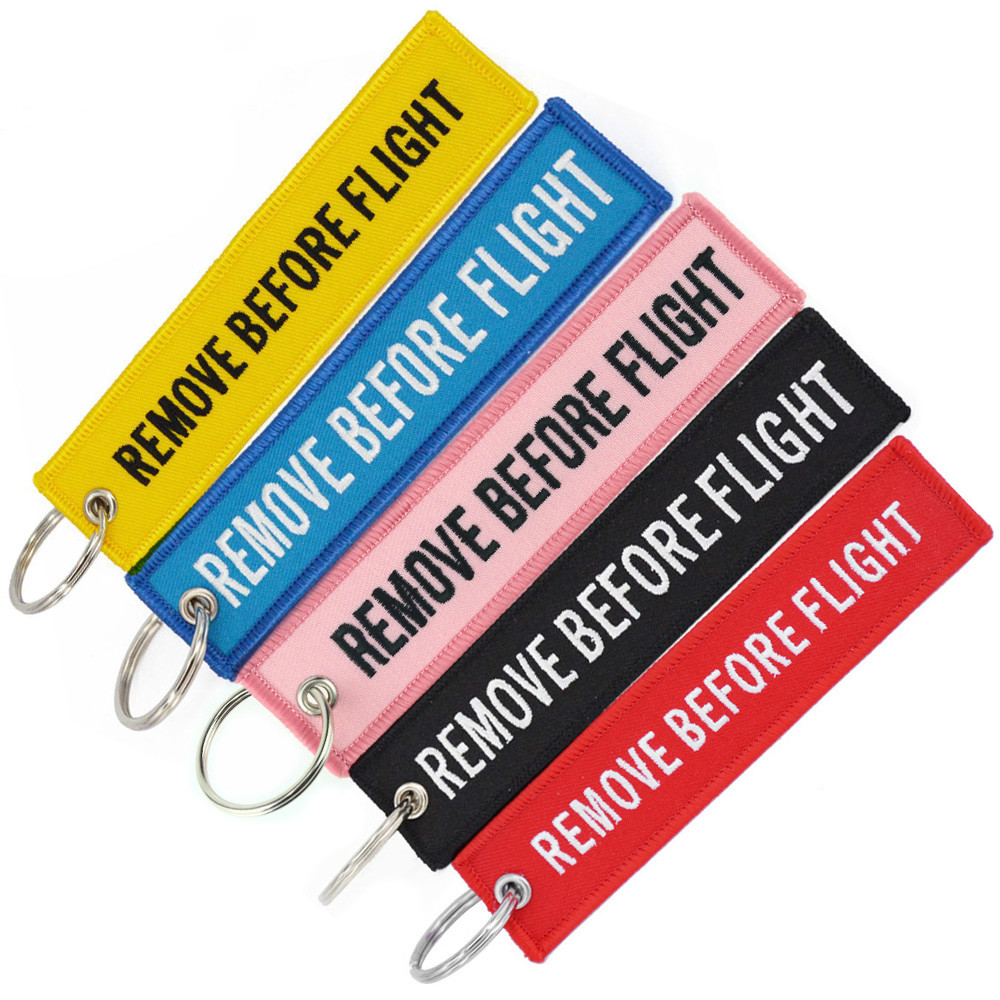 Remove Before Flight Keychain Chaveiro Embroidery Key Ring Aviation OEM Key Chains Jewelry Luggage Tag Car Key Rings 5 PCS/LOT