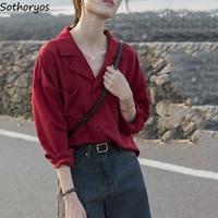 Frauen Blusen Chiffon Kerb Solide Einfache Grundlegende Shirts Büro Damen Lose Dünne Stilvolle Lange Hülse Frau Tops Taste Casual