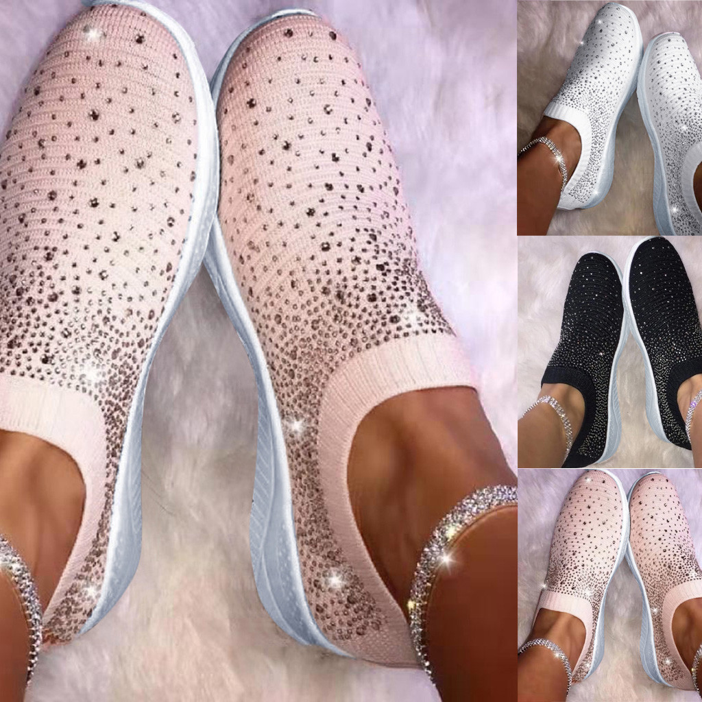 Casual Shoes Women Flat Loafers Ankle Shoes Crystal Fashion Bling Sneakers Ladies Slip On Breathable Sneakers Zapatillas Mujer