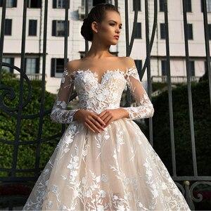 Image 2 - Long Sleeves Lace Wedding Dress 2019 Illusion Backless Princess Boho Lace Wedding Gown Plus Size Bride Dress amanda novias