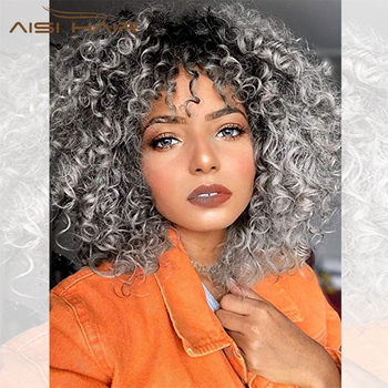 black gray AISI HAIR 14inches Afro kinky Curly Wig Ombre Black Gray Wig With Bangs Synthetic Long Wigs for Black Women
