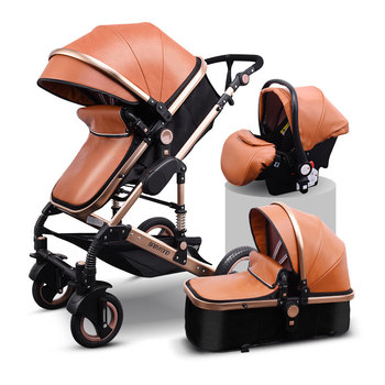 Newborn Baby Stroller 3 in 1 High Landscape Carriage Luxury Travel Pram Basket quality Stroller Baby Car seat Hot Sale Upgrade! 26