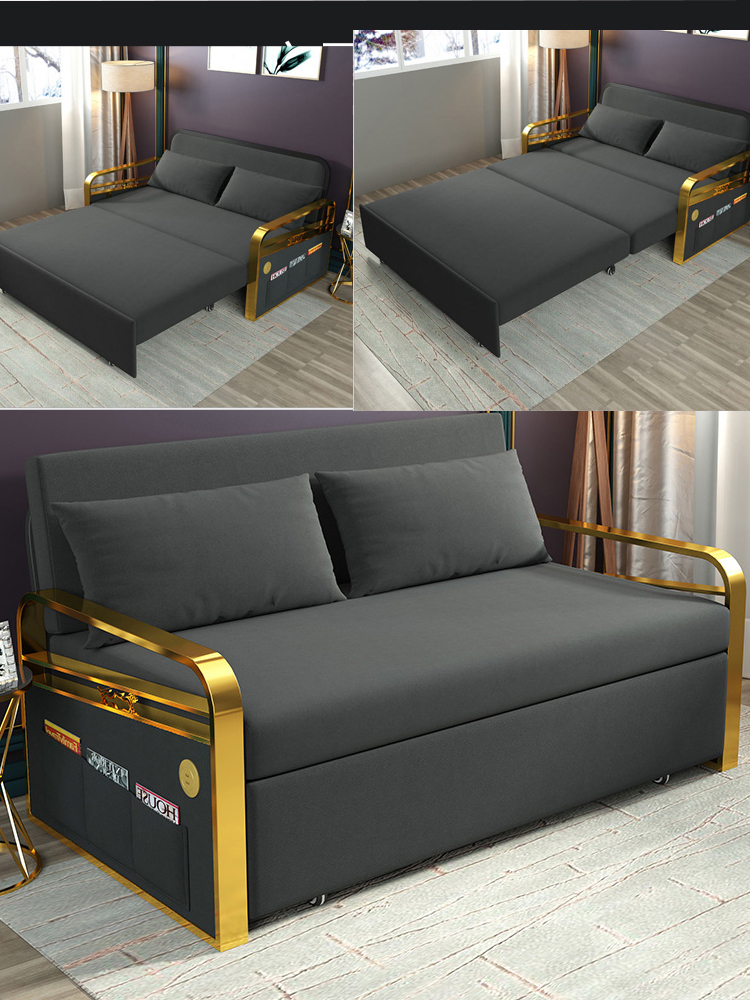 Linen Hemp Fabric Sofas  Living Room Sofa Set Stainless Steel Frame Alon Couch Puff Asiento Muebles De Sala Canape Sofa Bed Cama