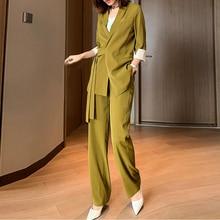 Pant Suit Office-Wear-Suits Plus-Size Blazer Jacket Female-Sets Summer Women New 5XL